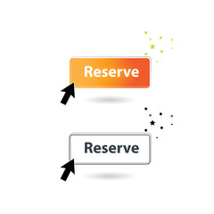 Reserve Icon with Hand, black and white button. Reservation concept on mobile.