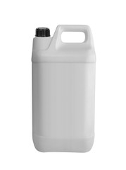 White plastic jerrycan on white background