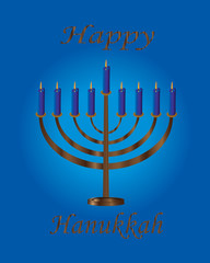 Hanukkah-Menorah with Blue Candles