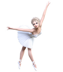 Dancing ballerina 3D. White ballet tutu. Blonde girl with blue eyes. Ballet dancer. Studio photography. High key. Conceptual fashion art. Render realistic illustration. White background.