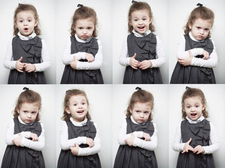 A group of images with the emotions of a little girl
