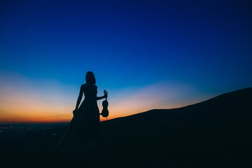 The girl in an evening dress holds a violin and bow in one hand, sunset, silhouette