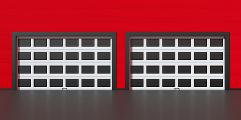 Two industrial garage doors with windows on red building wall