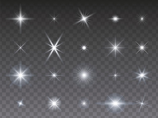Sammlung von leuchtenden Sternen auf transparentem Hintergrund Wall mural