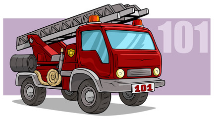 Cartoon emergency rescue fire department truck
