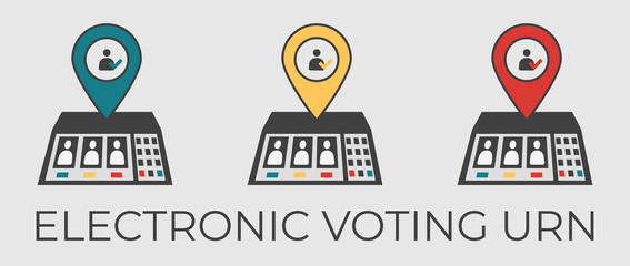 Electronic voting urn vector flat illustration