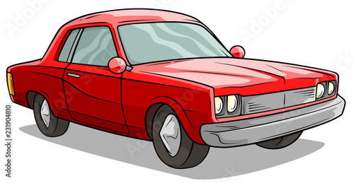Cartoon Red American Retro Muscle Car Vector Icon Stock Image And