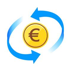ユーロ通貨コインアイコン青色矢印ベクターイラスト