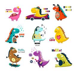 Cute dinosaurs. Cartoon. big set