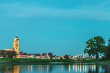 The Dutch city of Deventer in Overijssel with the river IJssel in front