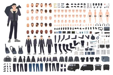 Thief, burglar or criminal creation set or DIY kit. Bundle of flat male cartoon character body parts in different postures, clothing and accessories isolated on white background. Vector illustration.