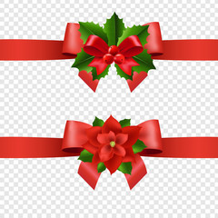 Red Ribbon With Holly Berry And Poinsettia Transparent Background