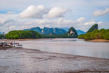 Krabi river with karst mountains, Thailand