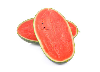 half cut watermelon with seeds on white background