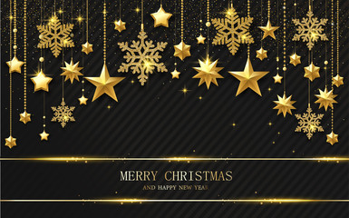 Merry Christmas and Happy New Year greeting card with golden shiny stars and snowflakes.