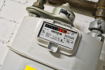 close-up of a gas meter