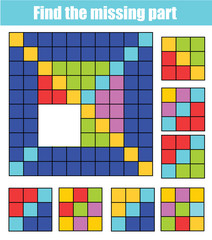 Puzzle for toddlers. Find the missing part of picture. Educational children game with abstract pattern