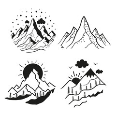 Vector set with emblem style mountain landscapes. Black and white print designs for logo, badges, stickers