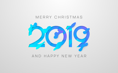 Merry Christmas and Happy New Year 2019 poster with blue figures.