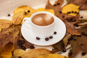 autumn leaves and espresso coffee