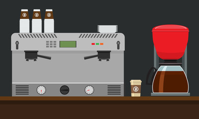 Coffee machine for make coffee Flat style Mock up. Vector illustration.