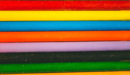 Crayon tips close-up. Shallow depth of field for dreamy impressional feel. Rainbow crayons