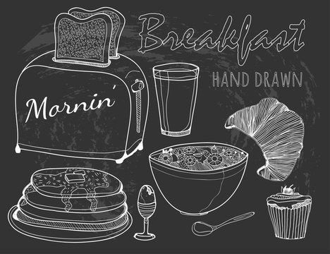 Hand drawn breakfast elements. Chalk style vector collection