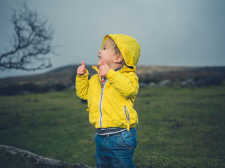 Toddler showing thumbs up on the moor
