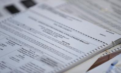A Fulton County Georgia election ballot is seen during U.S. midterm election in Atlanta