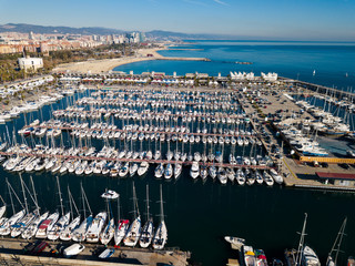 View from drone to marina of Barcelona