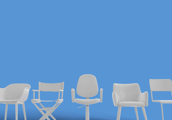 Row of different chairs. Job opportunity. Business diversity. recruitment. 3D rendering