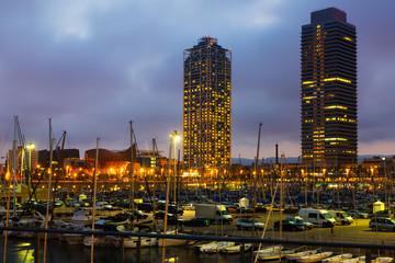 Twilight view of new seaside of Barcelona