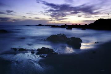 Rocky seascape at dusk