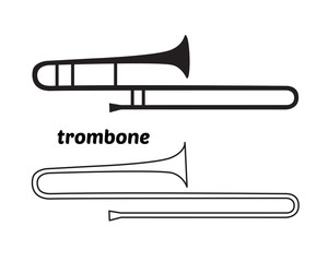 Continuous Line Drawing of Trombone linear icon. Thin line vector illustration. Trumpet silhouette shape. Contour symbol isolated on white background.