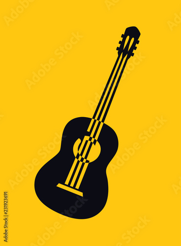 Black Silhouette Drawing Of Acoustic Guitar Vector Illustration