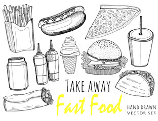 Hand drawn fast food. Graphic vestor set