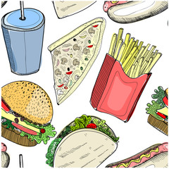 Hand drawn fastfood. Colored vector seamless pattern
