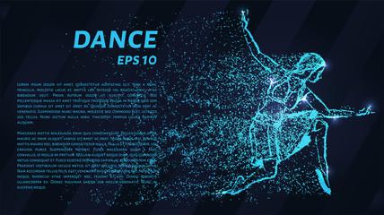 Dance of the blue points of light. Girl dancing, vector illustration.