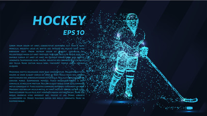 A hockey game consists of points. Particles in the form of a hockey player on a dark background. Vector illustration. Graphic concept of hockey.