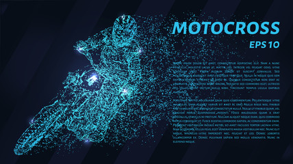 Motocross of blue glowing dots. The driver enters the turn.