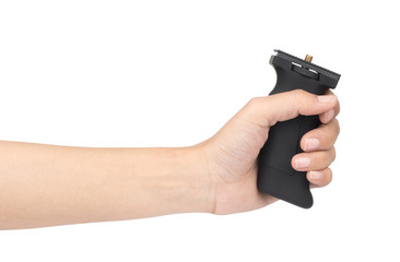 hand holding grip for camera or gun handles camera isolated on white background