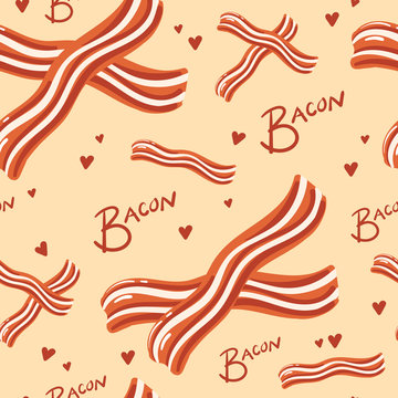 Vector Seamless Pattern of Bacon