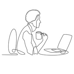 continuous line drawing of black designer or manager working behind computer with a cup of coffee, businessman character with afro haircut cartoon vector