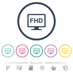 Full HD display flat color icons in round outlines