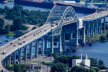 Blatnik Bridge going over Lake Superior, aerial view in Duluth on a sunny summer day