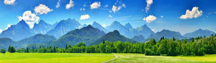 Canvas Prints Pool Panorama of summer mountains