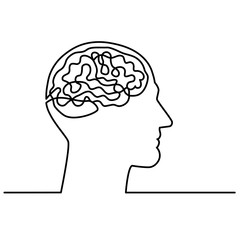 Continuous one line drawing men head and brain inside.The concept of thinking ideas inside the person's head. Vector