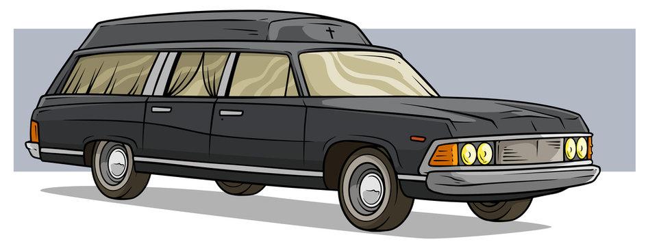 Cartoon black old long classic funeral hearse car
