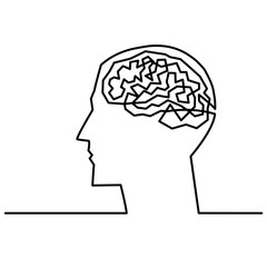 Continuous one line drawing men head and brain inside.The concept of thinking ideas inside the person's head. Vector illustration.
