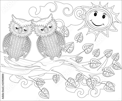 Coloring Pages Birds Cute Owl Sits On The Tree Stock Image And